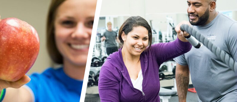 A split image; on the left there is a smiling woman offering an apple and on the right, there is a physical therapist guiding a client to fitness.