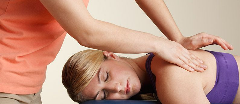 Close up of a client getting a back massage