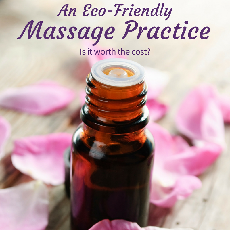 Close-up of an essential oil bottle, surrounded by pink petals. The text on the image says An eco-friendly massage practice - is it worth the cost?