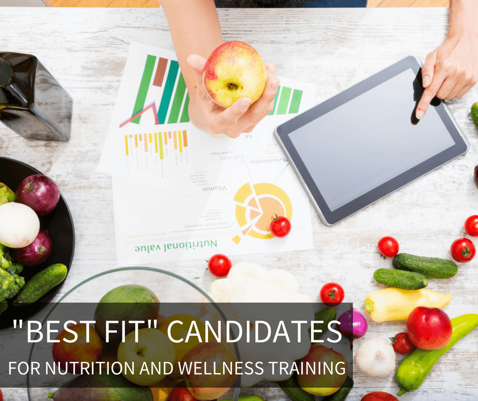 A shot from above a table. On the table someone is holding an apple, using a tablet and looking at nutritional value research. There are many types of fruits and vegetables on the table and in bowls. The text on the image says Best fit candidates for nutrition and wellness training.