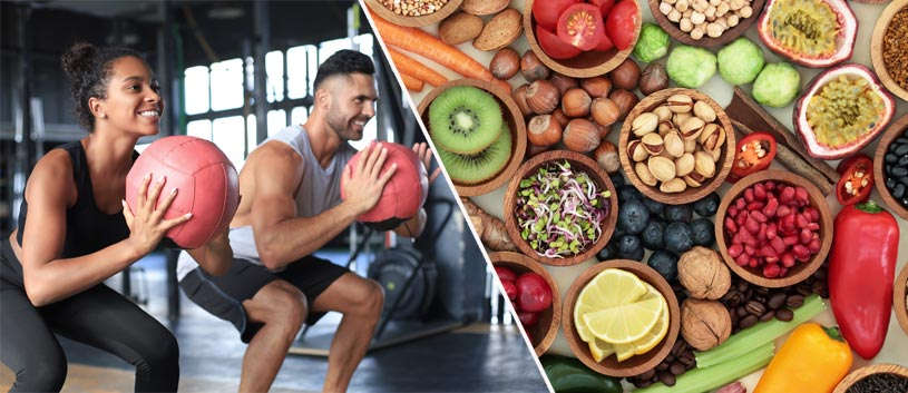 A side-by-side photo of a couple working out together and an assortment of healthy foods laid out on a table.